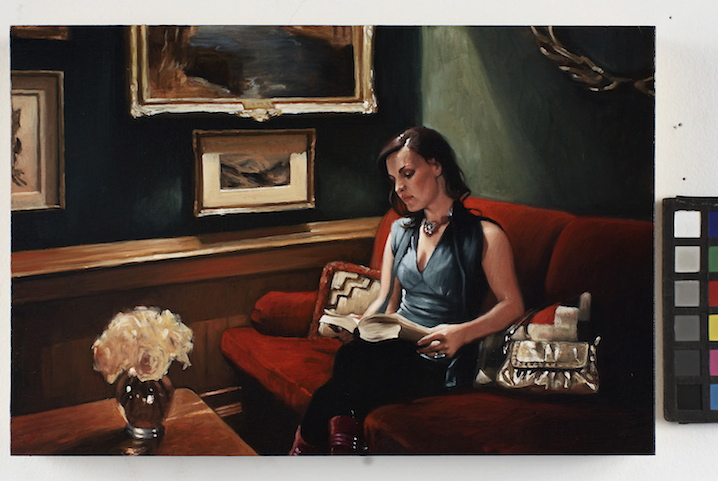 Reading at the Caribou Club, 2007, oil on wood panel photo: Genevieve Hanson from the series Guerrilla Lounging: Aspen