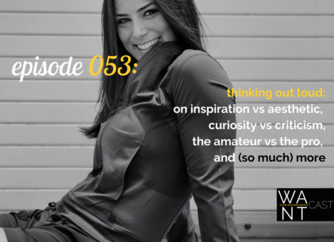 WANTcast 053: Thinking Out Loud: On Inspiration vs Aesthetic, Curiosity vs Criticism, The Amateur vs The Pro, and (so much) More